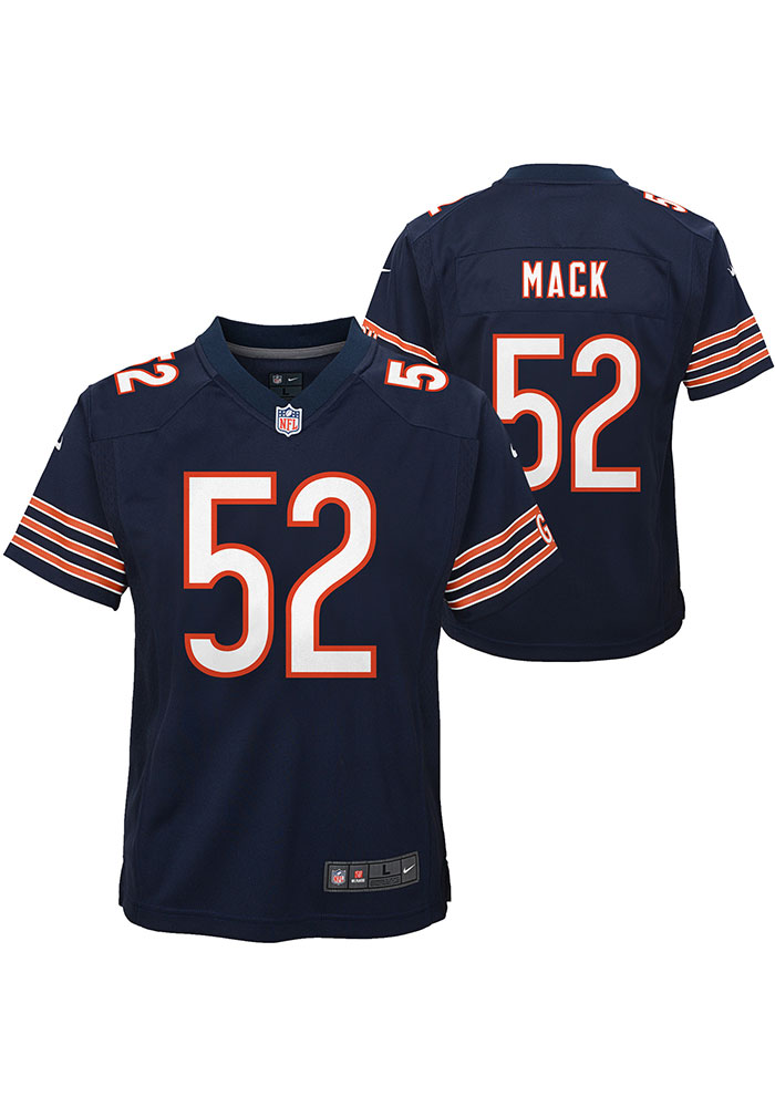 Khalil Mack Chicago Bears Youth Navy Blue Nike Game Team Football Jersey - Image 3
