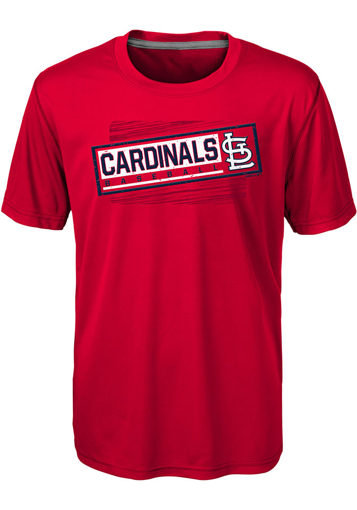 St Louis Cardinals Boys Red Field View Short Sleeve T-Shirt - Image 1