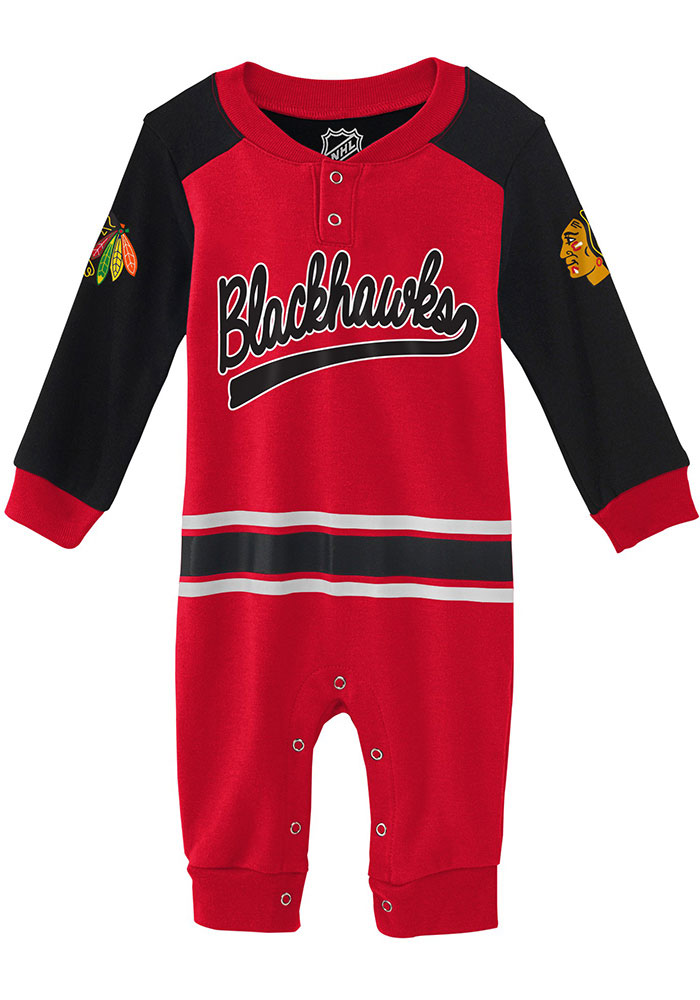 Chicago Blackhawks Baby Red Little D-Man Long Sleeve One Piece - Image 1