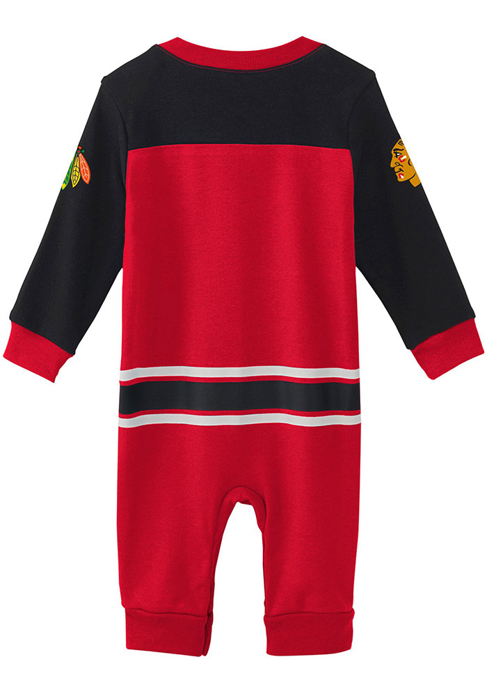 Chicago Blackhawks Baby Red Little D-Man Long Sleeve One Piece - Image 2