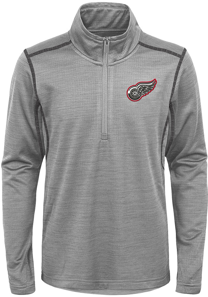 Detroit Red Wings Youth Grey Back to the Arena Long Sleeve Quarter Zip Shirt - Image 1