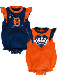 Detroit Tigers Baby Double Trouble One Piece - Navy Blue