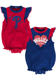 Philadelphia Phillies Baby Double Trouble One Piece - Red