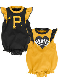 Pittsburgh Pirates Baby Double Trouble One Piece - Black