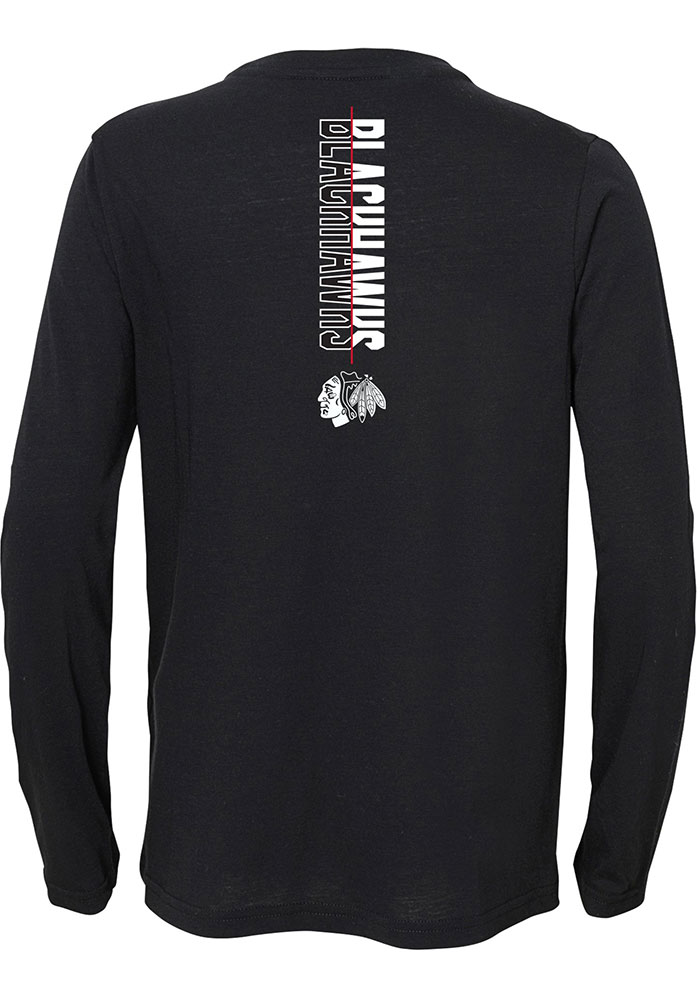 Chicago Blackhawks Boys Black Deliver a Hit Long Sleeve T-Shirt - Image 2