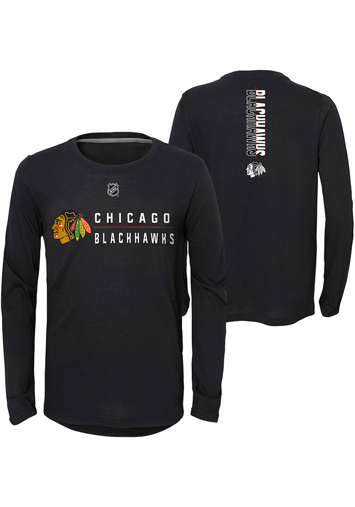 Chicago Blackhawks Boys Black Deliver a Hit Long Sleeve T-Shirt - Image 3
