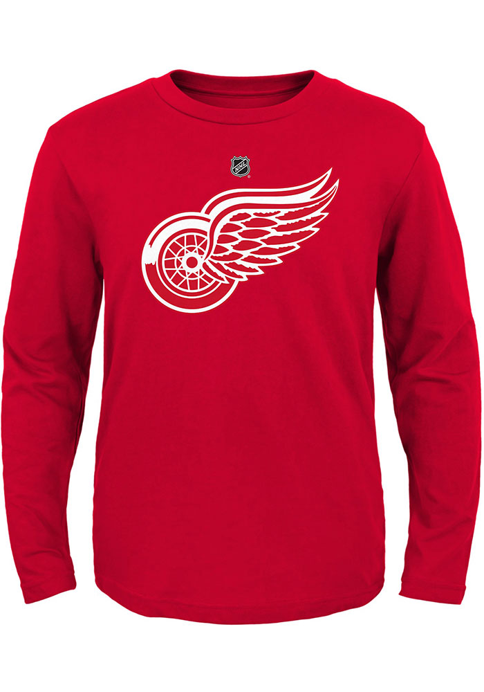 Detroit Red Wings Boys Red Primary Logo Long Sleeve T-Shirt - Image 1