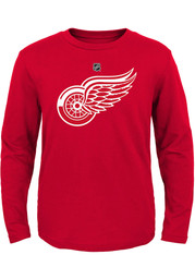 Detroit Red Wings Boys Red Primary Logo Long Sleeve T-Shirt
