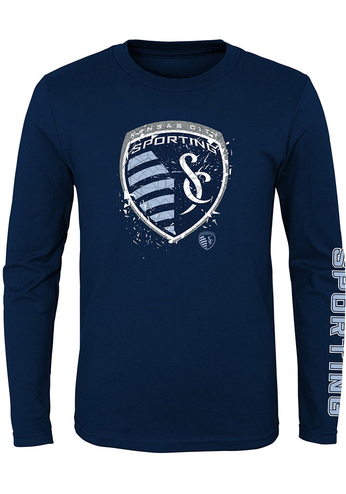 Sporting Kansas City Youth Navy Blue Deconstructed Long Sleeve T-Shirt - Image 1