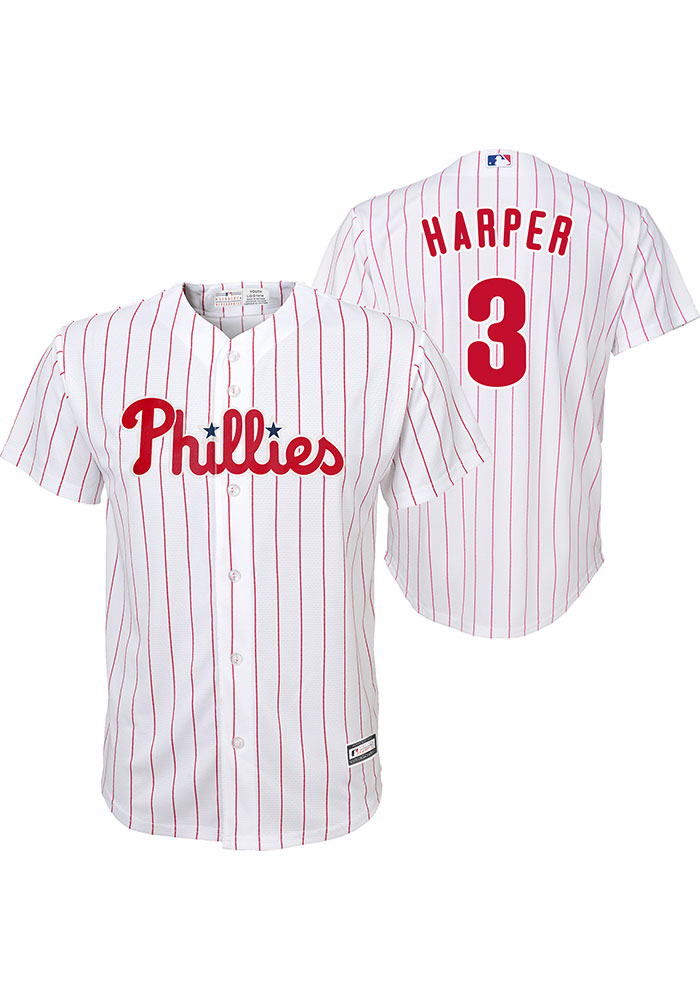 Bryce Harper Outer Stuff Philadelphia Phillies Youth White Home Replica Jersey - Image 3