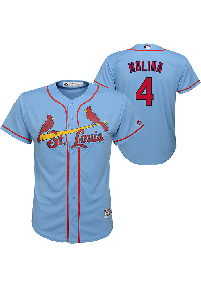 Yadier Molina Outer Stuff St Louis Cardinals Youth Light Blue Alt Replica Jersey - Image 3