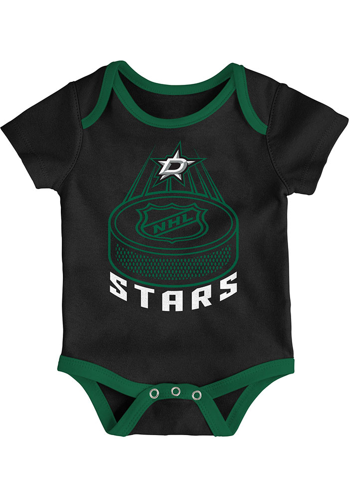 Dallas Stars Baby Black Fan-Atic Short Sleeve One Piece - Image 1