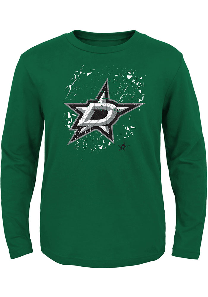 Dallas Stars Boys Kelly Green Deconstructed Long Sleeve T-Shirt - Image 1