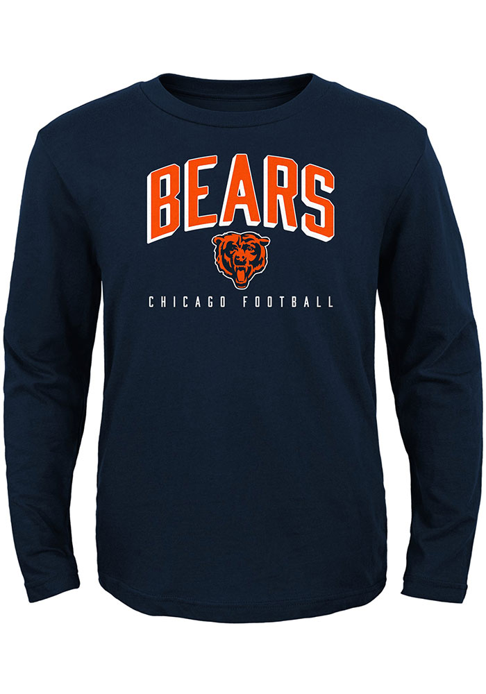 Chicago Bears Boys Navy Blue Arched Standard Long Sleeve T-Shirt - Image 1
