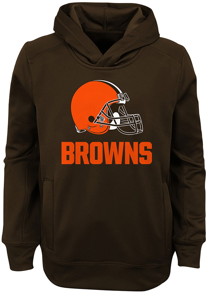 Cleveland Browns Youth Brown Goal Line Stand Long Sleeve Hoodie - Image 1