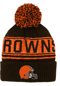 Cleveland Browns Youth Fan Pixel Jacquard Cuff Knit Hat - Brown
