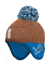 Detroit Lions Baby Football Head Knit Hat - Brown