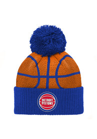 Detroit Pistons Youth Basketball Head Knit Hat - Blue