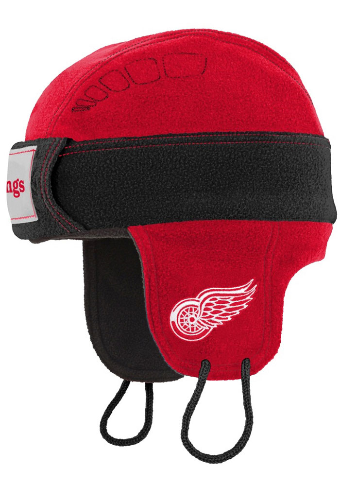 Detroit Red Wings Youth Hockey Helmet Knit Hat - Red