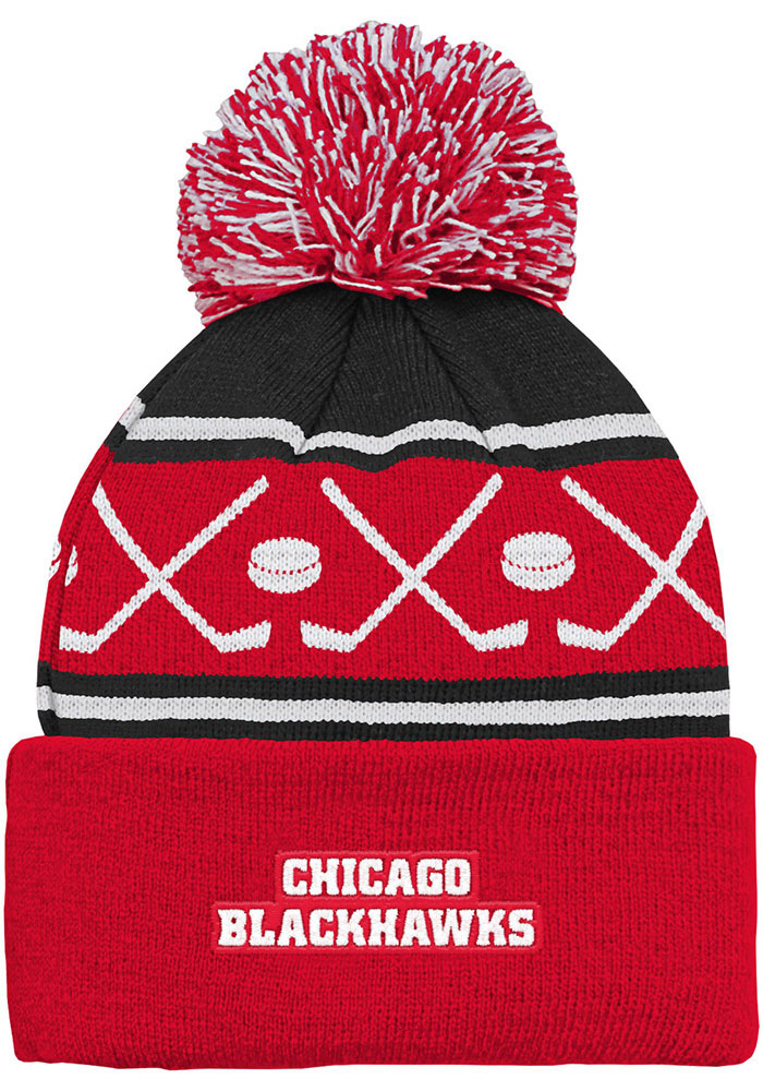 Chicago Blackhawks Black Face Off Cuff Youth Knit Hat - Image 2