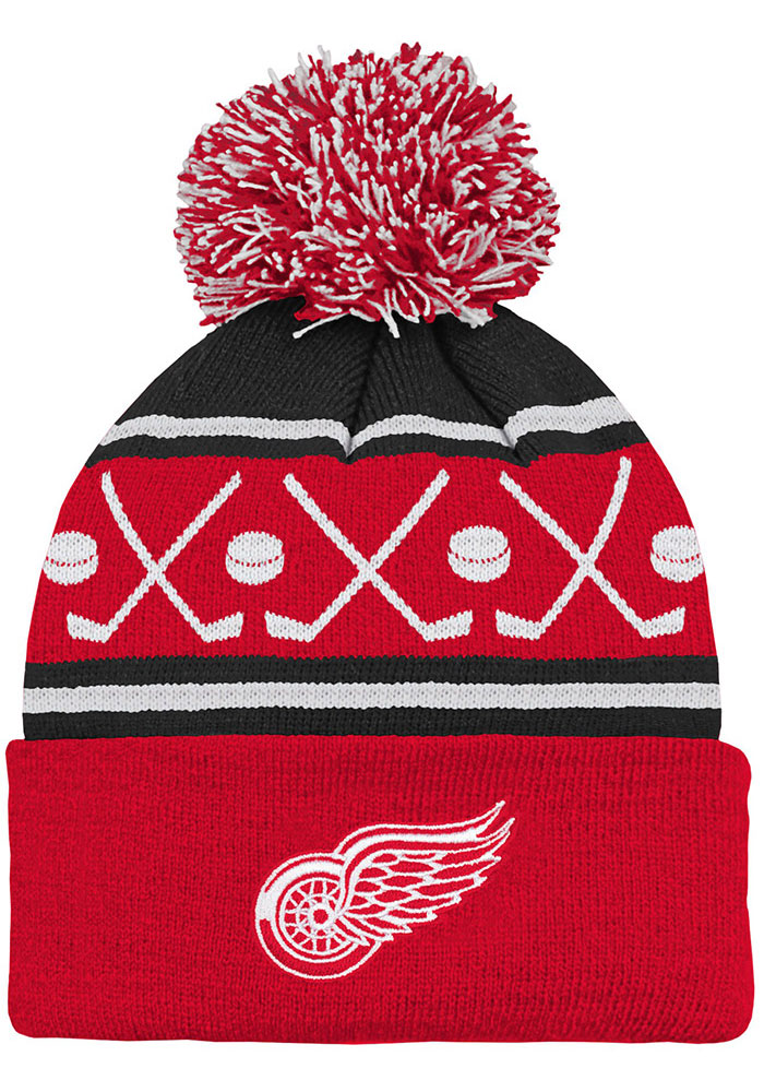 Detroit Red Wings Red Face Off Cuff Youth Knit Hat - Image 1
