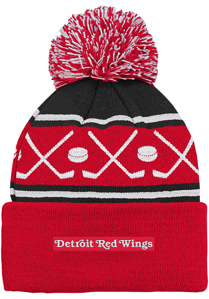 Detroit Red Wings Red Face Off Cuff Youth Knit Hat - Image 2