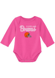 Cleveland Browns Baby Big Game LS One Piece - Pink