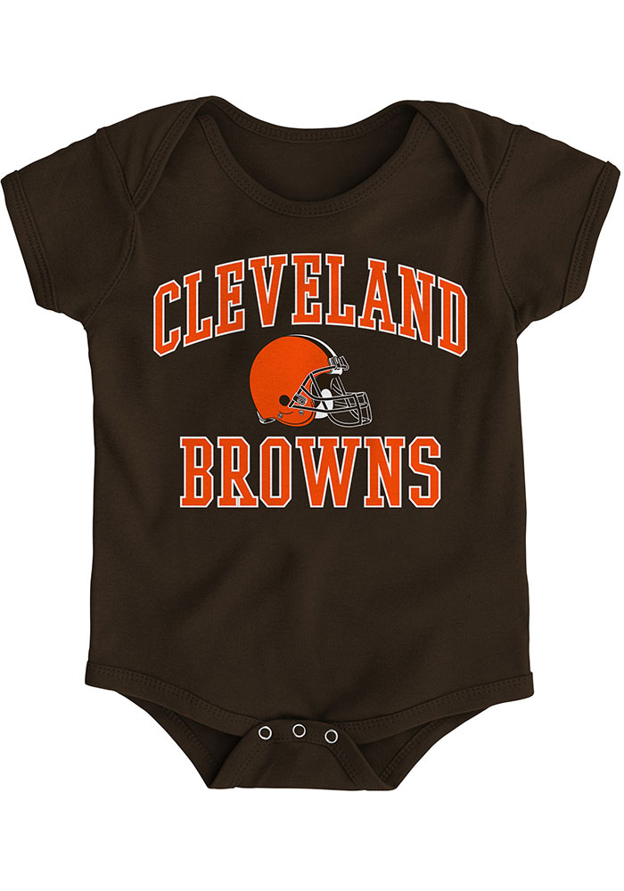 Cleveland Browns Baby Brown #1 Design Short Sleeve One Piece - Image 1