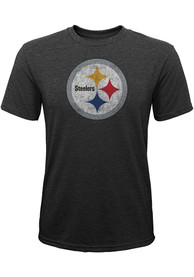 Pittsburgh Steelers Youth Distressed Primary Fashion T-Shirt - Black