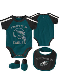 Philadelphia Eagles Baby Tackle One Piece with Bib - Teal