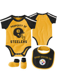 Pittsburgh Steelers Baby Tackle One Piece with Bib - Gold