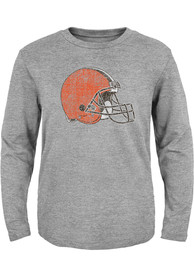 Cleveland Browns Youth Distressed Primary T-Shirt - Grey