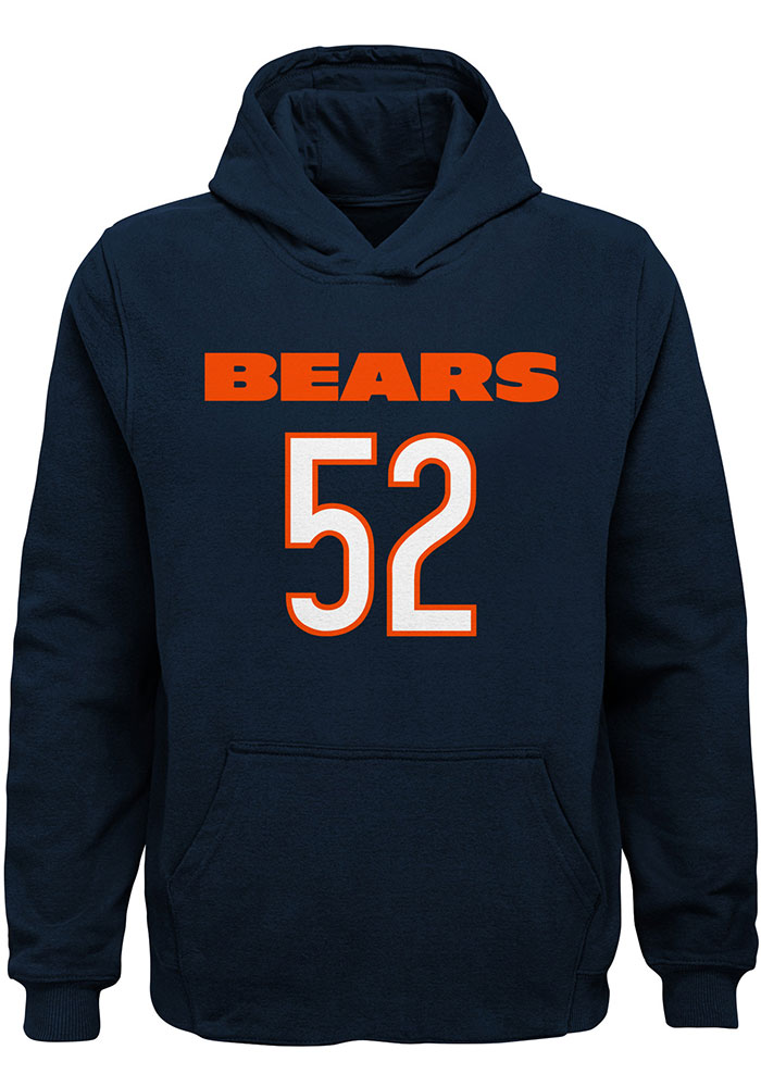 Khalil Mack Outer Stuff Chicago Bears Youth Navy Blue Mainliner N&N Long Sleeve Hoodie - Image 2