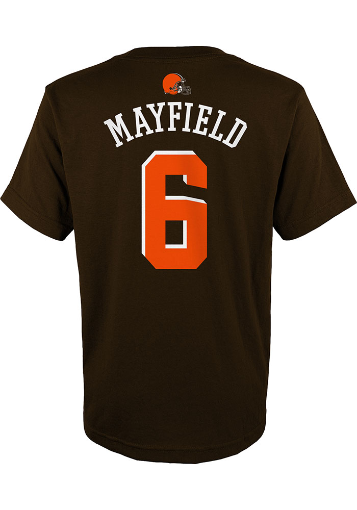 Baker Mayfield Cleveland Browns Youth Brown Mainliner N&N Player Tee - Image 1