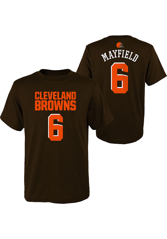 Baker Mayfield Cleveland Browns Youth Brown Mainliner N&N Player Tee - Image 3