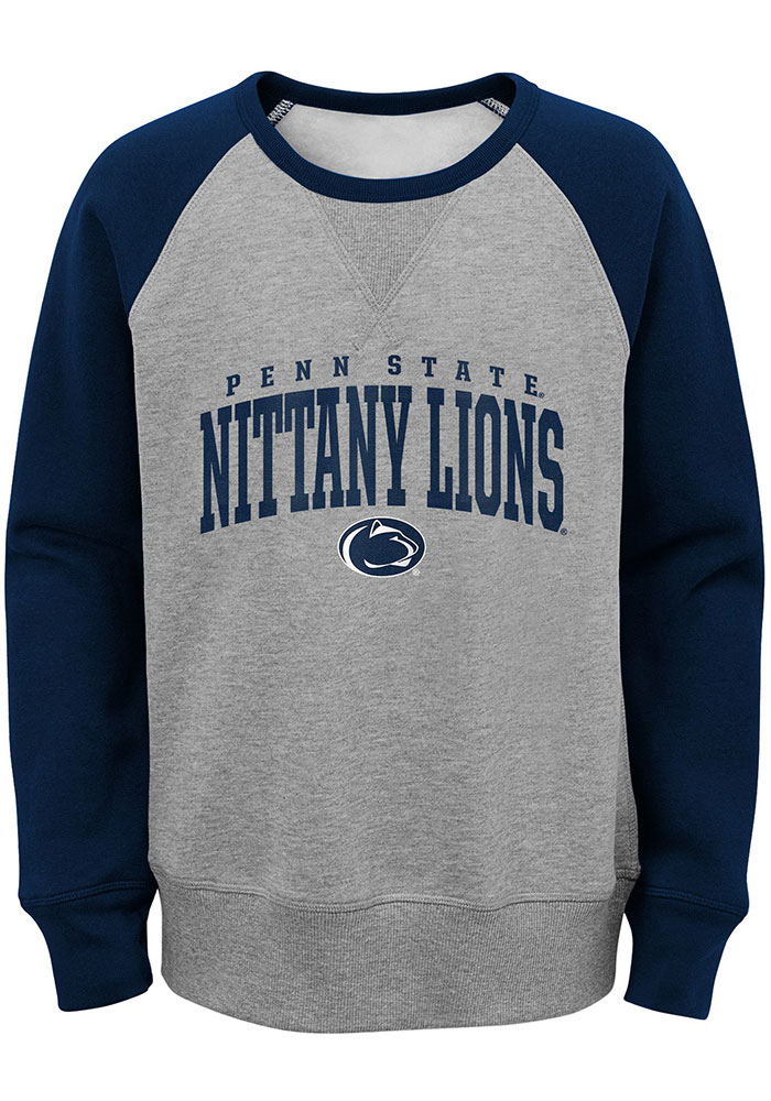 Penn State Nittany Lions Youth Grey Victory Long Sleeve Crew Sweatshirt - Image 1