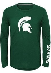 Michigan State Spartans Youth Green Trainer Long Sleeve T-Shirt