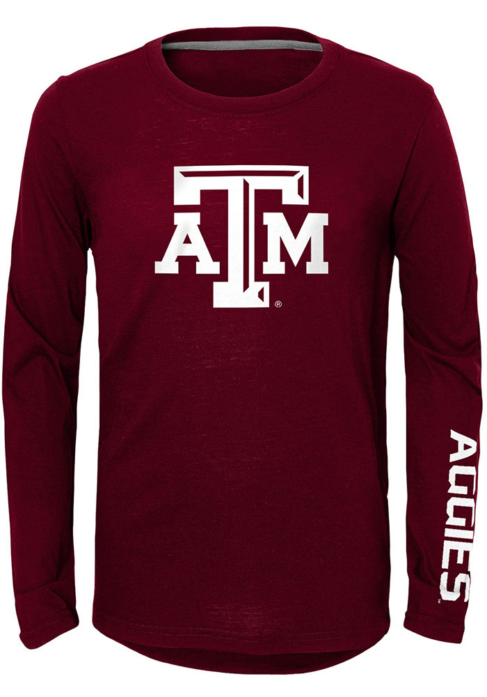 Texas A&M Aggies Youth Maroon Trainer Long Sleeve T-Shirt - Image 1