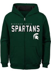 Michigan State Spartans Youth Green Stated Long Sleeve Full Zip Jacket