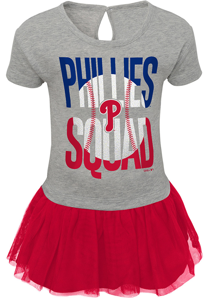 new concept 3b877 e36b7 Philadelphia Phillies Baby Girls Red Fan Squad Short Sleeve Dress