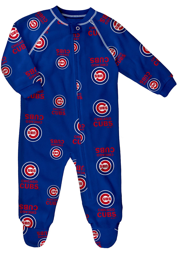 Chicago Cubs Baby Blue All Over Logo Loungewear One Piece Pajamas - Image 1