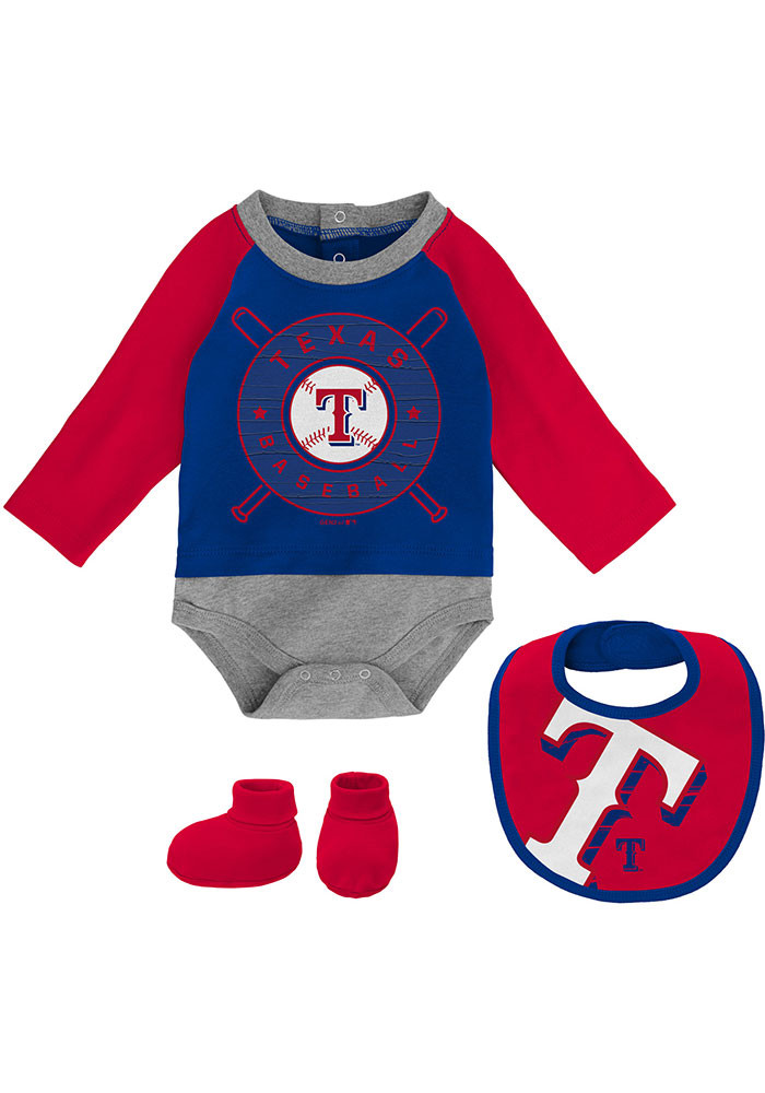 Texas Rangers Baby Red Dugout Dude Set One Piece with Bib - Image 1
