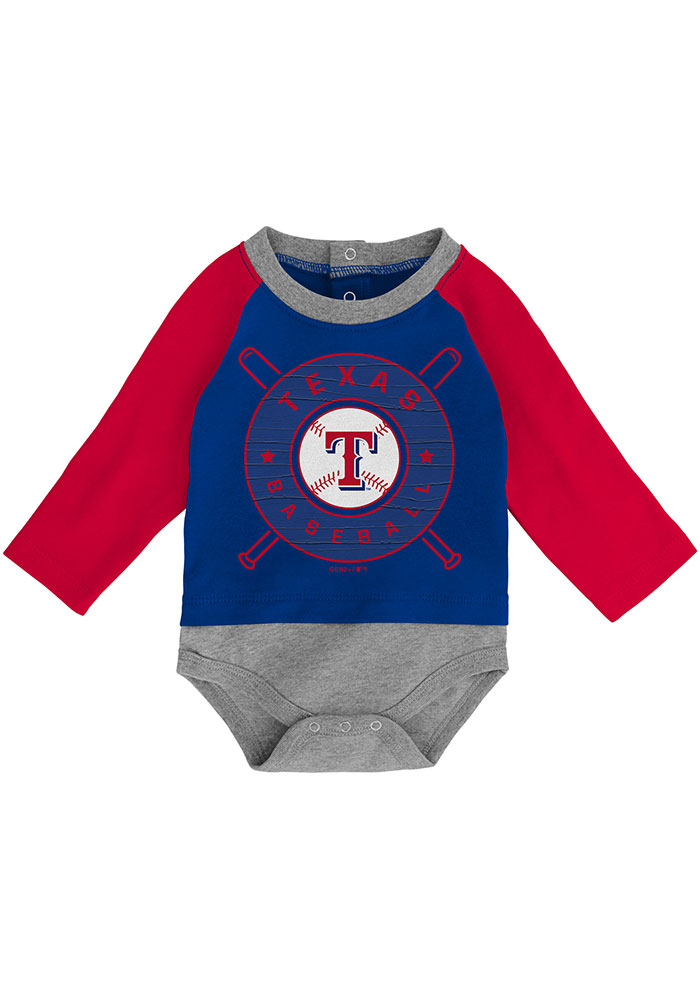 Texas Rangers Baby Red Dugout Dude Set One Piece with Bib - Image 2