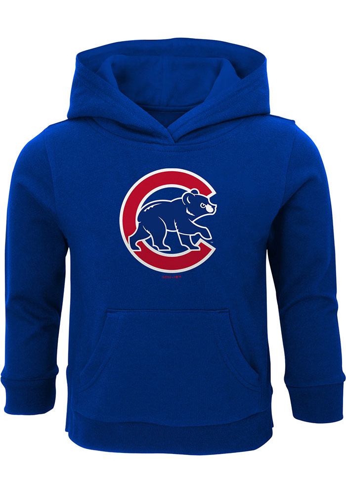 Chicago Cubs Toddler Blue Primary Logo Long Sleeve Hooded Sweatshirt - Image 1