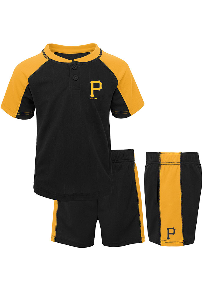 Pittsburgh Pirates Toddler Black Play Strong Set Top and Bottom - Image 1