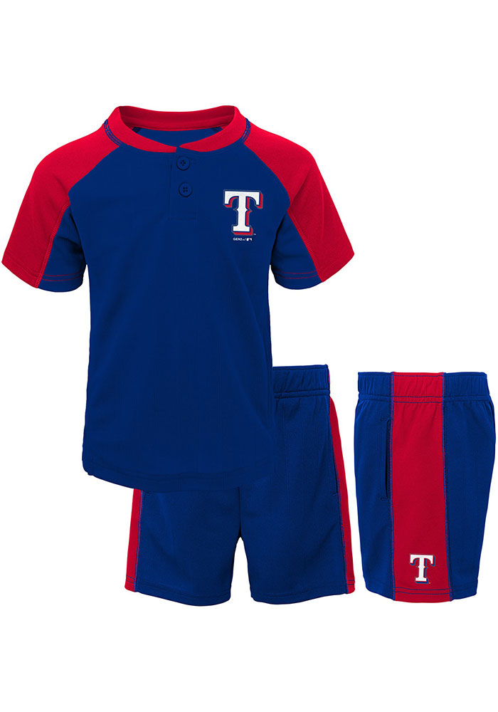 Texas Rangers Toddler Blue Play Strong Set Top and Bottom - Image 1