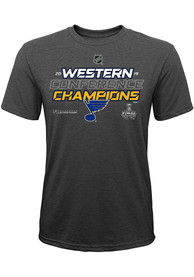 the best attitude 07c30 81675 St Louis Blues Youth Grey 2019 Conf Champs Locker Room T-Shirt