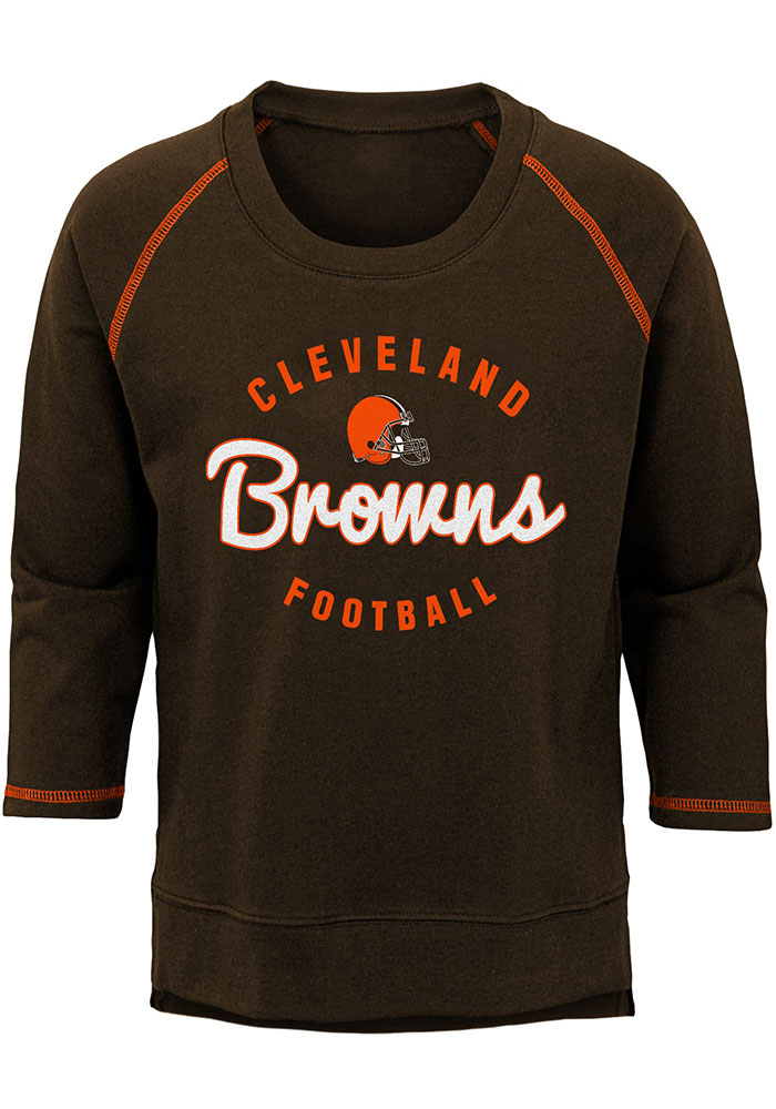 Cleveland Browns Girls Brown Overthrow Long Sleeve T-shirt - Image 1