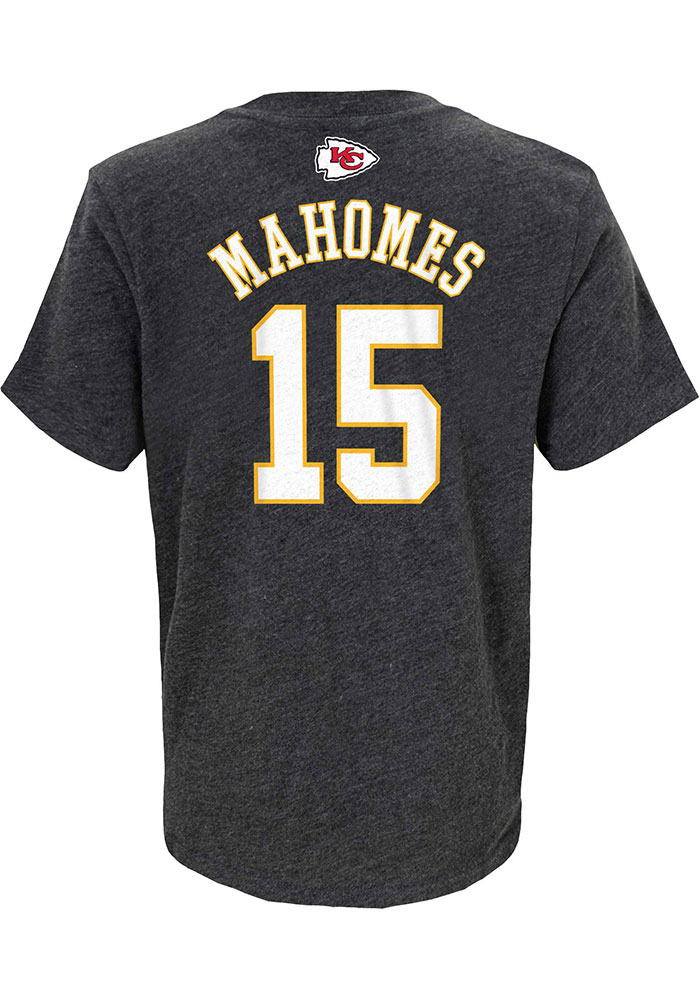 Patrick Mahomes Kansas City Chiefs Youth Charcoal Name and Number Player Tee - Image 1
