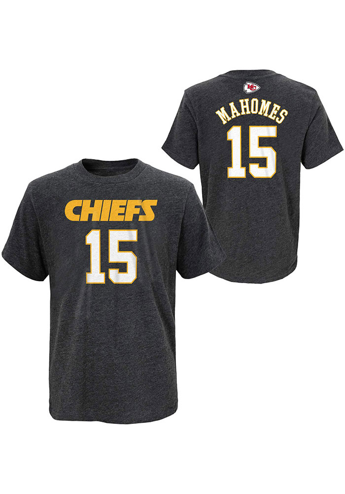 Patrick Mahomes Kansas City Chiefs Youth Charcoal Name and Number Player Tee - Image 3
